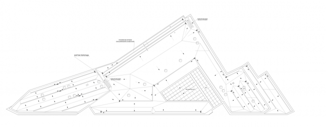Multifunctional complex on the Zemlyanoy Val Street. Plan of the roof © Ginsburg Architects