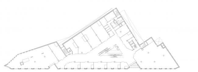Многофункциональный комплекс на ул. Земляной Вал. План 2 этажа © Гинзбург Архитектс