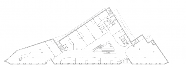 Multifunctional complex on the Zemlyanoy Val Street. Plan of the 2nd floor © Ginsburg Architects