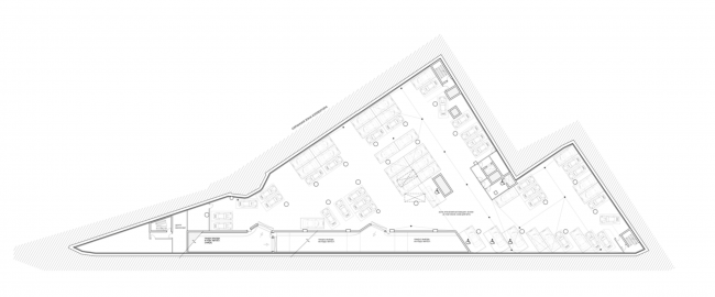 Multifunctional complex on the Zemlyanoy Val Street. Plan of the -3rd floor © Ginsburg Architects