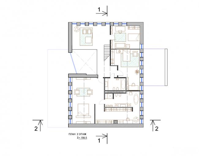 Дом «Артур». План 2-го этажа © Андрей Каплин