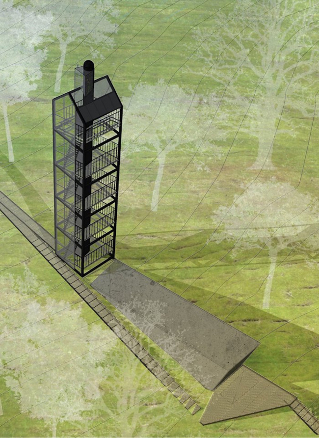 "The project of a tower ""Shelter"" prepared for the ""Arkhstoyanie"" Festival. Location plan. 2016 © Wowhaus"