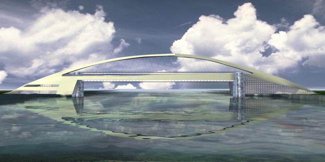 Торгово-пешеходный мост через Москва-реку, район Марьино-Братеево © Архитектурное бюро Асадова