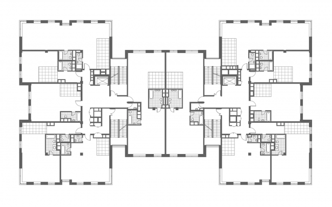 The club house in the Gorokhovsky Lane. Plan of the 3rd floor, 2016 © ADM architects