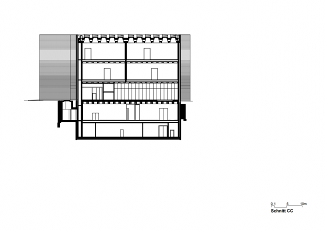 Kunstmuseum Basel. Новое здание. Разрез. Christ & Gantenbein