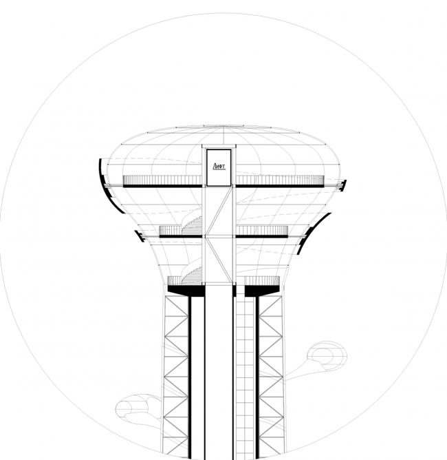 Конкурсный проект реконструкции телевизионной башни. Разрез Б-Б © Arch group