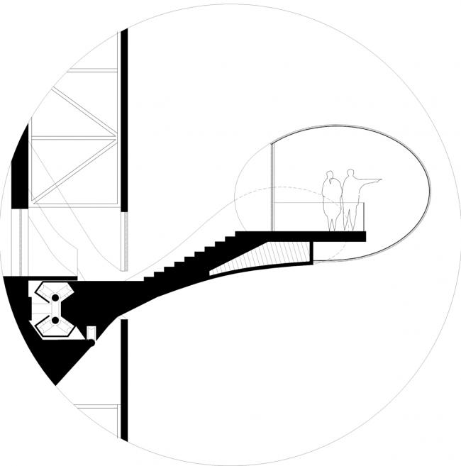 Конкурсный проект реконструкции телевизионной башни. Разрез Г-Г © Arch group