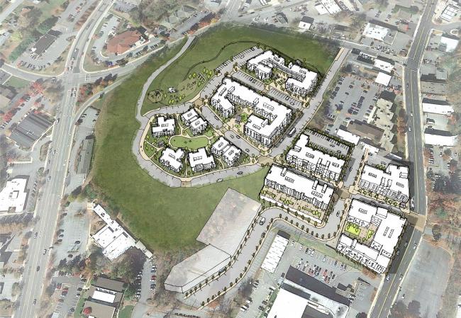 Мастерплан района Ли-Уокер-хайтс в Ашвилле © David Baker Architects