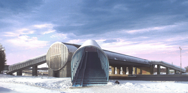 Pedestrian bridge with retail facilities, 24 km MKAD (Moscow Ring Road)