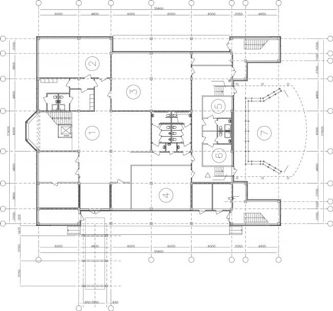 Молодёжный досуговый центр. План 1 этажа © Архитектурная мастерская А.А. Столярчука