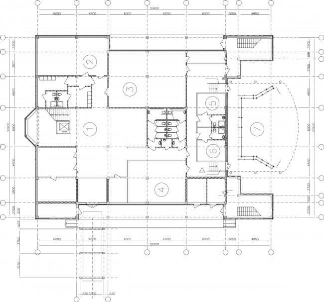 Youth hobby center. Plan of the first floor © Anatoly Stolyarchuk architectural studio