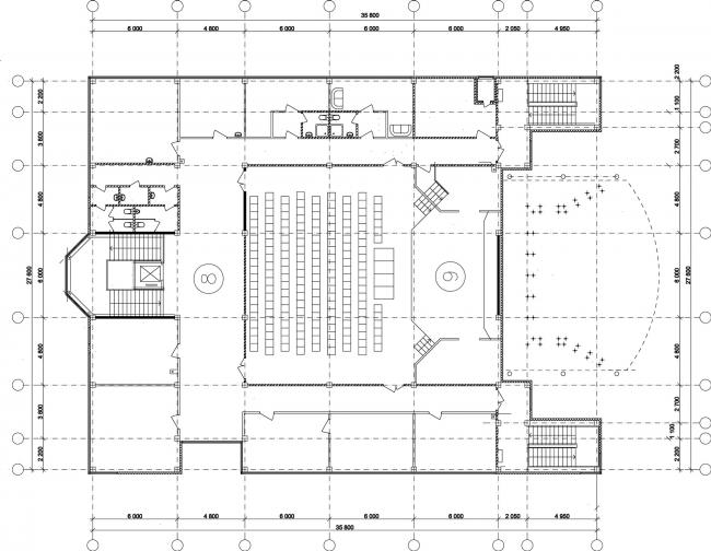 Молодёжный досуговый центр. План 2 этажа © Архитектурная мастерская А.А. Столярчука