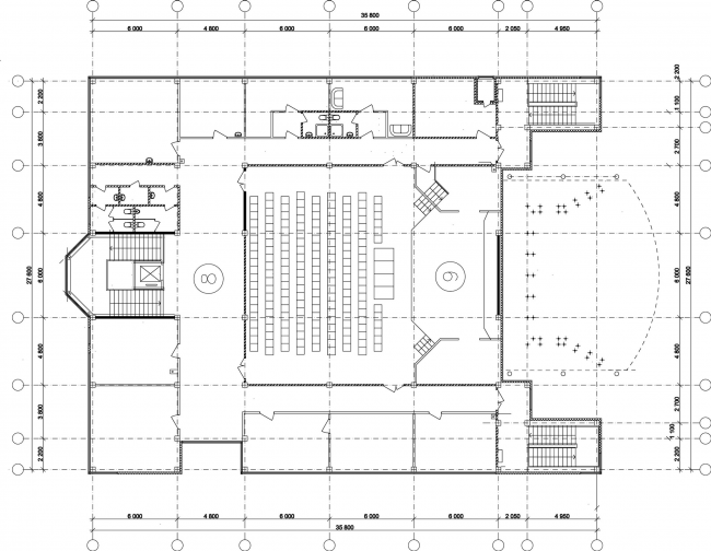 Youth hobby center. Plan of the second floor © Anatoly Stolyarchuk architectural studio