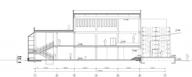 Молодёжный досуговый центр. Разрез © Архитектурная мастерская А.А. Столярчука