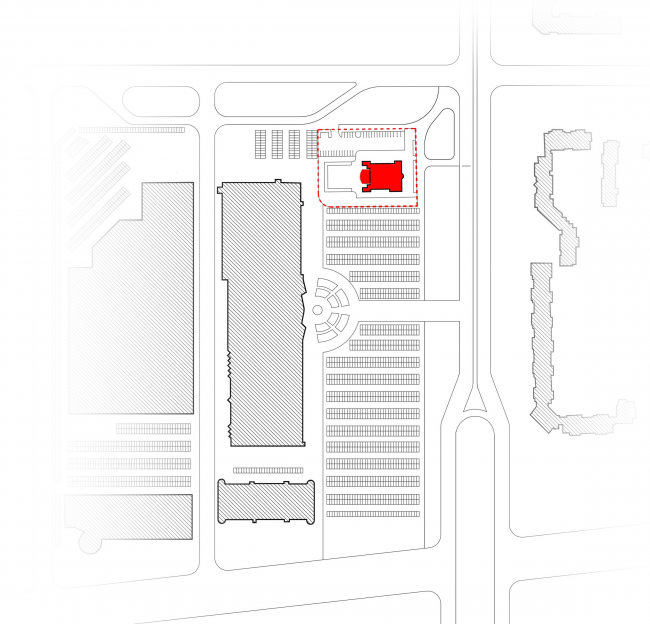 Youth hobby center. Location plan © Anatoly Stolyarchuk architectural studio