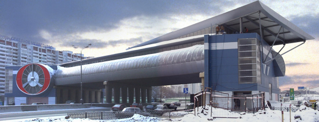 Pedestrian bridge with retail facilities, 91 km MKAD (Moscow Ring Road)