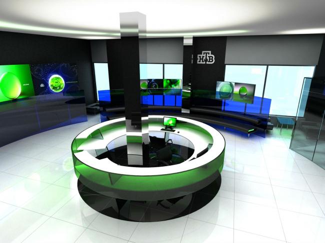 Проект вестибюля в здании телекомпании НТВ © Arch group