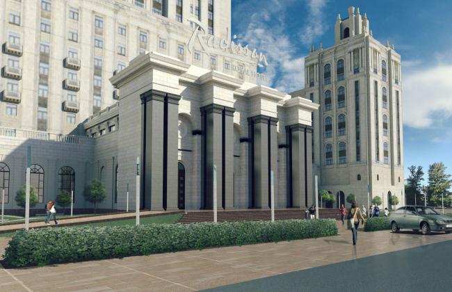 Реконструкция гостиницы «Украина». Конкурсный проект «Невидимый воздушный козырек». Входная группа © Arch group