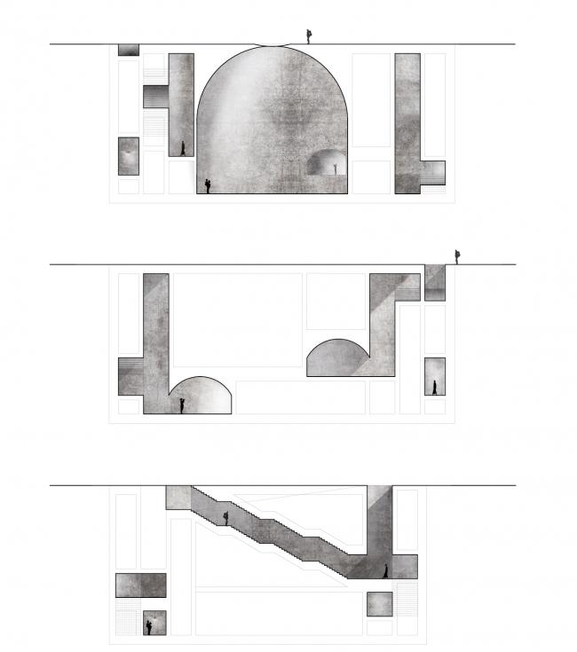 Проект культурного центра из бетона в Риме. Джино Балди, Серена Коми. Миланский технический университет (Италия) © Bee Breeders Architecture Competitions