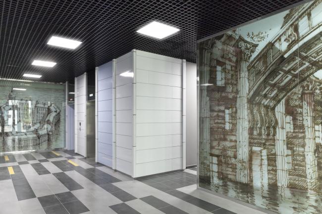 """""""Vodny"""" housing project. Construction, 2015. Interior of the entrance lobby. Photograph © Dmitry Chebanenko"""
