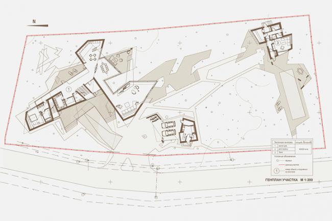 Индивидуальный жилой дом «Сосновый бор-2». Генплан © Архитектурное бюро «Тотемент/Пейпер»