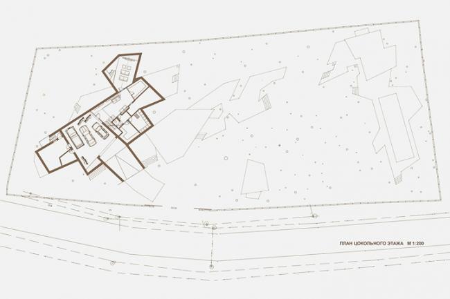 Индивидуальный жилой дом «Сосновый бор-2». План цокольного этажа © Архитектурное бюро «Тотемент/Пейпер»