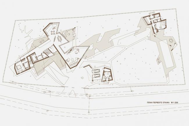 Индивидуальный жилой дом «Сосновый бор-2». План 1-го этажа © Архитектурное бюро «Тотемент/Пейпер»