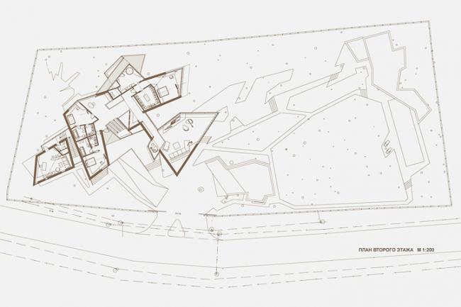 Индивидуальный жилой дом «Сосновый бор-2». План 2-го этажа © Архитектурное бюро «Тотемент/Пейпер»