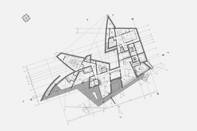 Индивидуальный жилой дом в пос. Архангельское. План цокольного этажа © Архитектурное бюро «Тотемент/Пейпер»