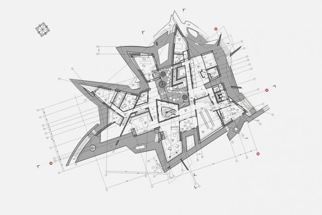 Индивидуальный жилой дом в пос. Архангельское. План 1-го этажа © Архитектурное бюро «Тотемент/Пейпер»