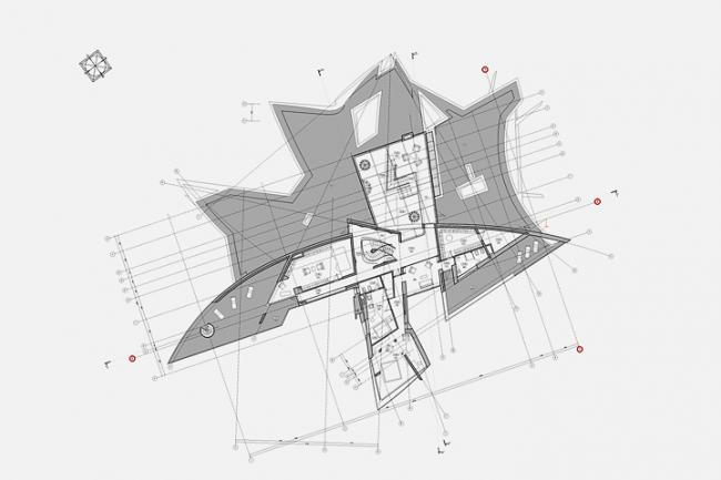 Индивидуальный жилой дом в пос. Архангельское. План 2-го этажа © Архитектурное бюро «Тотемент/Пейпер»