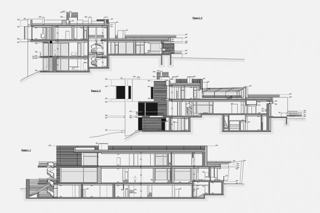 Индивидуальный жилой дом в пос. Архангельское. Разрезы 1,2,3 © Архитектурное бюро «Тотемент/Пейпер»