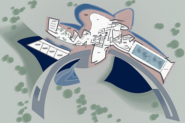 Загородная резиденция в пос. Архангельское. Вариант 1. План 1-го этажа © Архитектурное бюро «Тотемент/Пейпер»