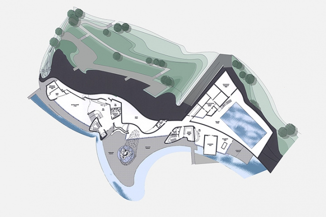 Загородная резиденция в пос. Архангельское. Вариант 2. План 1-го этажа © Архитектурное бюро «Тотемент/Пейпер»