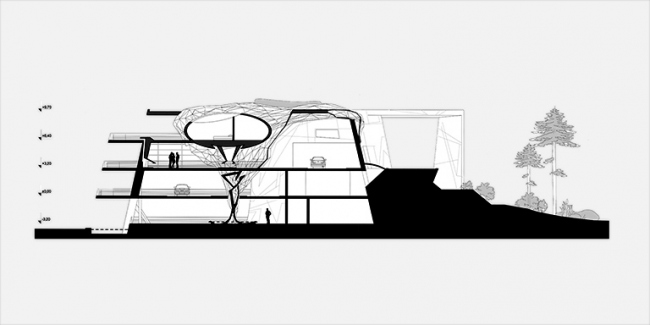 Загородная резиденция в пос. Архангельское. Вариант 2. Разрез 1-1 © Архитектурное бюро «Тотемент/Пейпер»