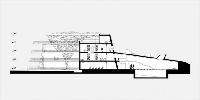 Загородная резиденция в пос. Архангельское. Вариант 2. Разрез 2-2 © Архитектурное бюро «Тотемент/Пейпер»