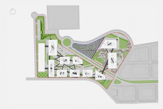 «Сбербанк» в инновационном центре «Сколково». Генплан © Архитектурное бюро «Тотемент/Пейпер»