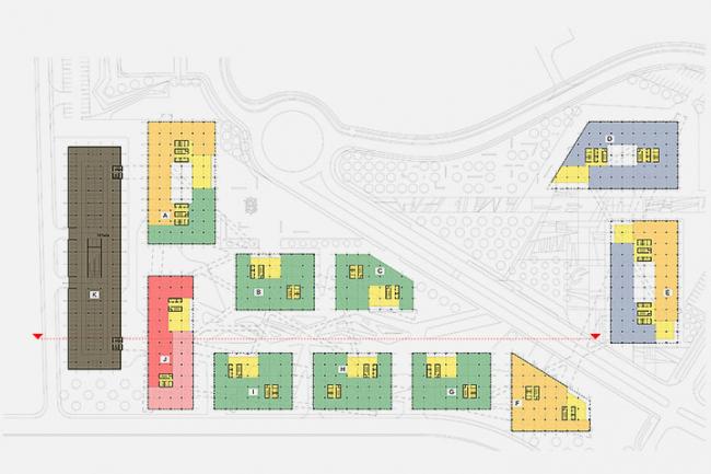 «Сбербанк» в инновационном центре «Сколково». Схема функционального зонирования 1-го уровня © Архитектурное бюро «Тотемент/Пейпер»