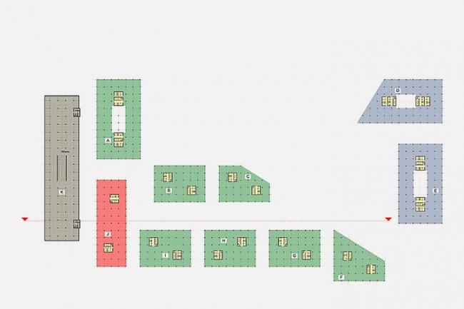«Сбербанк» в инновационном центре «Сколково». Схема функционального зонирования 2-го и 3-го уровней © Архитектурное бюро «Тотемент/Пейпер»