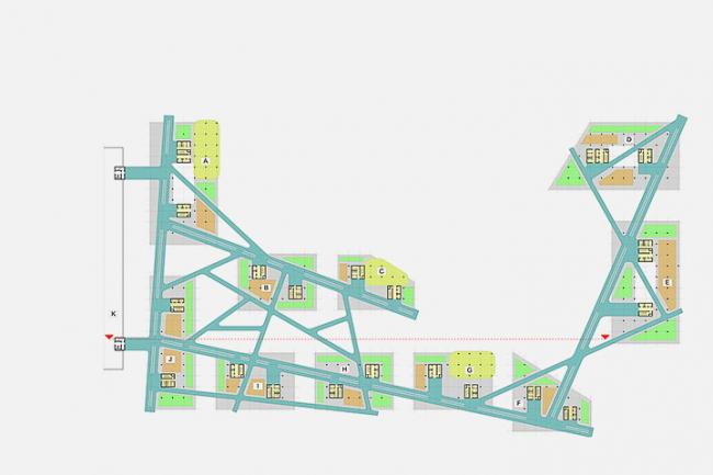 «Сбербанк» в инновационном центре «Сколково». Схема функционального зонирования 4-го уровня © Архитектурное бюро «Тотемент/Пейпер»