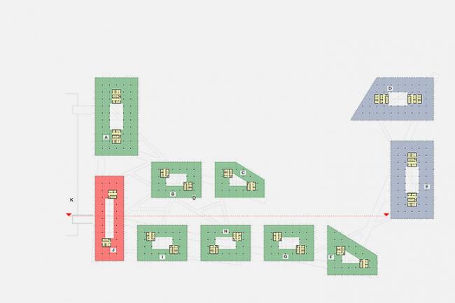 «Сбербанк» в инновационном центре «Сколково». Схема функционального зонирования 5-го уровня © Архитектурное бюро «Тотемент/Пейпер»