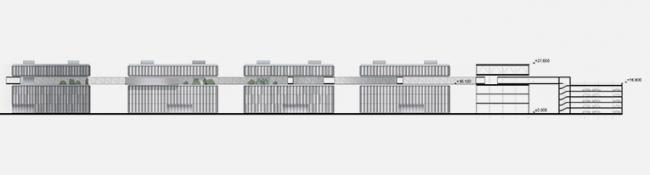 «Сбербанк» в инновационном центре «Сколково». Разрез © Архитектурное бюро «Тотемент/Пейпер»