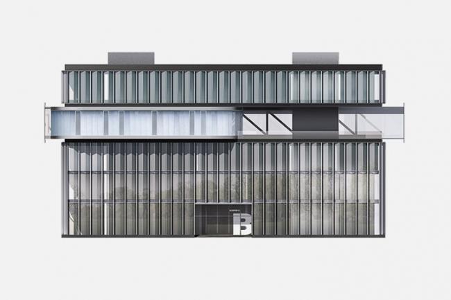 «Сбербанк» в инновационном центре «Сколково». Фасад. Вариант 2 © Архитектурное бюро «Тотемент/Пейпер»