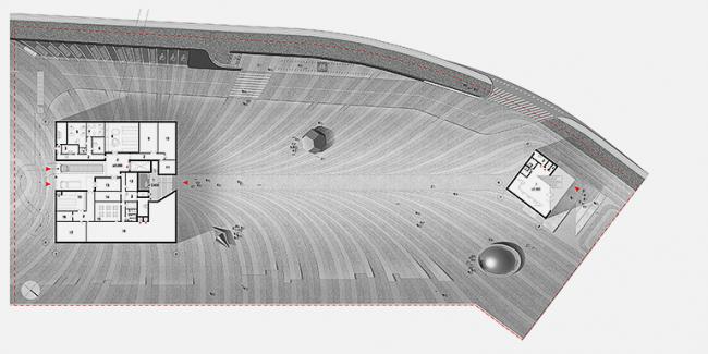 Музей Гуггенхайма. Конкурсный проект. План 1-го этажа совмещенный с генпланом © Архитектурное бюро «Тотемент/Пейпер»