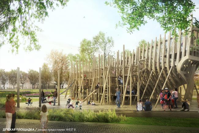 Новая Голландия. Детская площадка. Проект 2014-2016 © Рендер предоставлен West 8