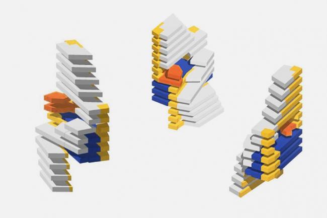 Апарт-отель в районе Комошевина г. Будва (Черногория). Аксонометрическая схема зонирования © Архитектурное бюро «Тотемент/Пейпер»