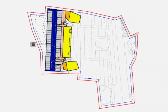 Апарт-отель в Госпоштине, г. Будва (Черногория). зонирование. План на отметке –5.000, –8.000, –11.000 © Архитектурное бюро «Тотемент/Пейпер»