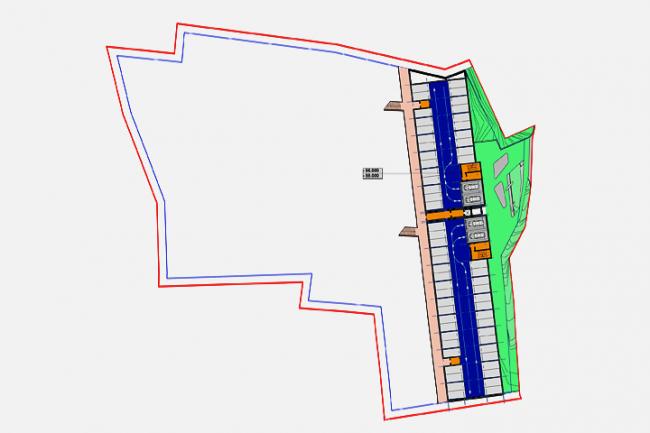 Апарт-отель в Госпоштине, г. Будва (Черногория). зонирование. План на отметке –56.000, –59.000 (паркинг) © Архитектурное бюро «Тотемент/Пейпер»