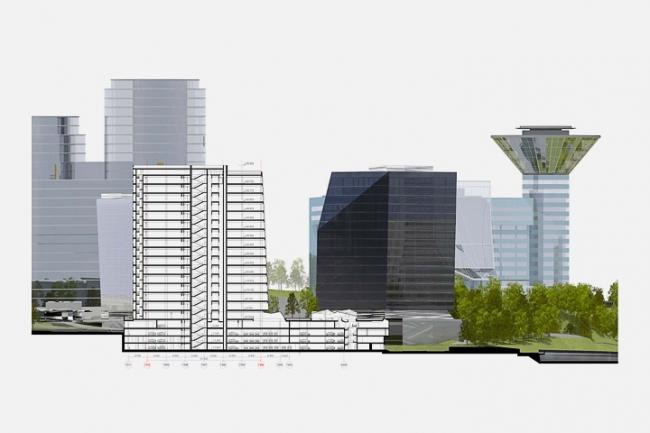 Многофункциональный комплекс в Мякинино. Разрез 1-1 © Архитектурное бюро «Тотемент/Пейпер»