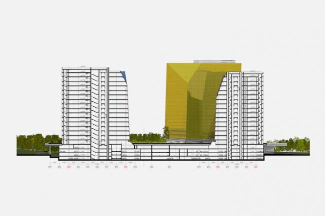 Многофункциональный комплекс в Мякинино. Разрез 2-2 © Архитектурное бюро «Тотемент/Пейпер»
